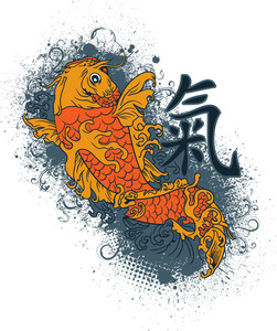 Japanese Vector T-shirt Design With Koi Fish