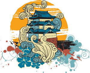 Japanese Vector T-shirt Design With Temple