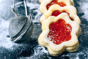 Jelly Cookies Flower With Red Jam Homemade