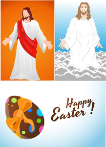 Jesus And Easter Egg Vectors