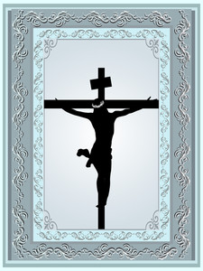 Jesus Christ Crucifix 3d Ornamental Frame Relief