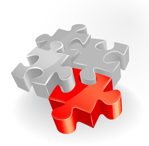 Jigsaw Puzzle Concept For Business With Red Piece. Vector.