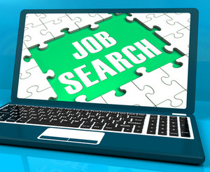 Job Search On Laptop Shows Online Recruitment