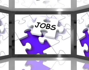 Jobs On Screen Showing Job Recruitment