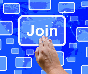 Join Button With Hand Showing Subscription And Registration