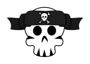Jolly Roger Banner Over Skull Forehead - Vector Cartoon Illustration