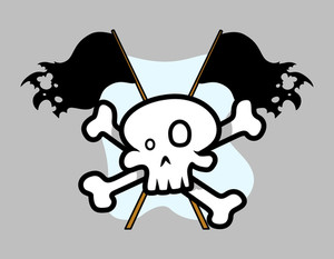 Jolly Roger Crossed Flag - Vector Cartoon Illustration