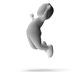 Jumping 3d Character Shows Excitement And Joy