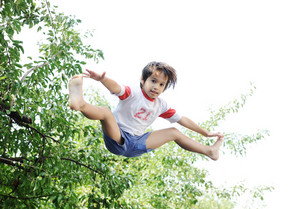Jumping kid in the air