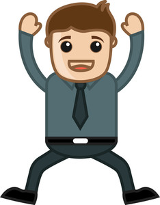 Jumping Office Person - Business Cartoon Character Vector
