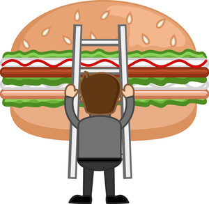 Junk Food Concept  - Cartoon Business Vector Character