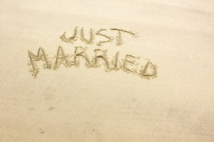 Just Married Text On Sand