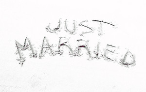 Just Married Text San Writting