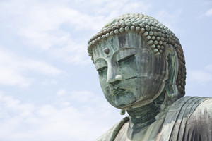 KAMAKURA - APRIL 13 : Close up great buddha in Kotoku-in Temple on April 13, 2012 in Kamakura, Kanagawa, Japan