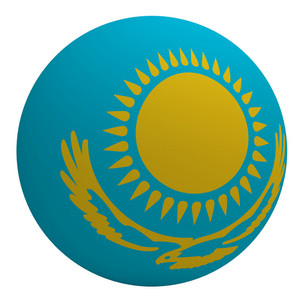 Kazakhstan Flag On The Ball Isolated On White.