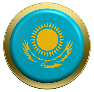 Kazakhstan Flag On The Round Button Isolated On White.