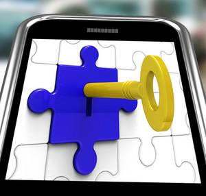 Key In Lock On Smartphone Showing Hidden Secrets