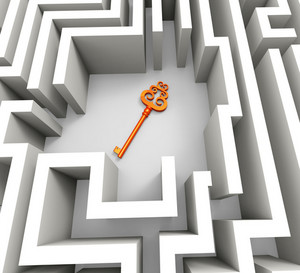Key In Maze Shows Security Solution