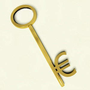 Key With Euro Sign As Symbol For Money Or Investment