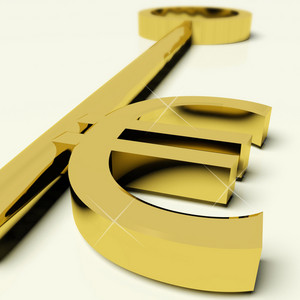 Key With Euro Sign As Symbol For Money Or Wealth