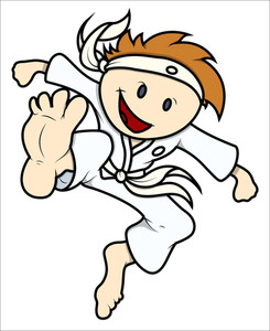 Kid Doing Karate - Vector Cartoon Illustration