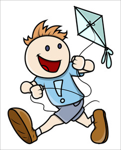 Kid Flying Kite - Vector Illustrations