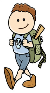 Kid Going To School - Vector Cartoon Illustration