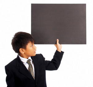 Kid Holding A Blank Board