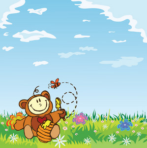 Kid In Bear Costume Vector Illustration