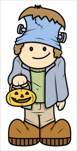 Kid In Halloween Constume - Vector Cartoon Illustration