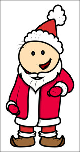 Kid In Santa Costume - Vector Cartoon Illustration