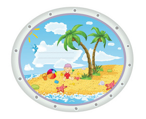 Kid Playing At The Beach Vector Illustration