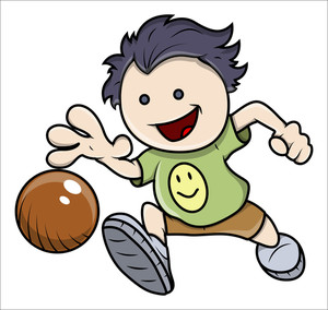 Kid Playing Ball - Vector Illustrations