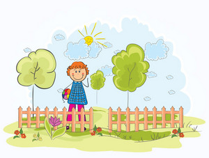 Kid Playing In The Park Vector Illustration