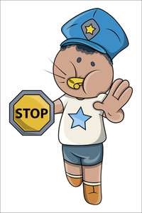 Kid Playing Traffic Police Game - Vector Cartoon Illustration