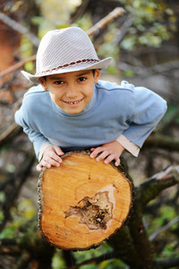 Kid portrait on timber tree outdoor in nature