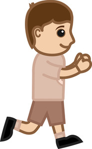 Kid Running - Vector Character Cartoon Illustration