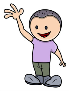 Kid Saying Hello - Vector Cartoon Illustration