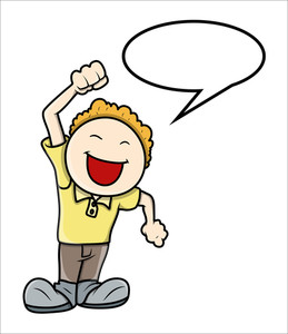 Kid Saying In Speech Bubble - Vector Illustrations