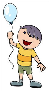 Kid With Balloon - Vector Cartoon Illustration
