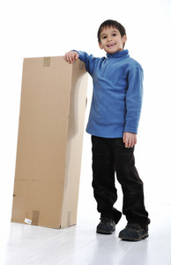 Kid with paper box isolated
