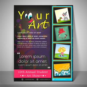 Kiddish flyer and banner for 10th annual student art show with childish icons  address bar and mailer.