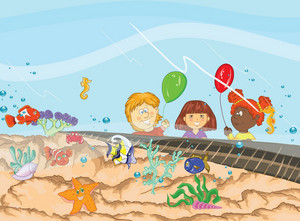 Kids At The Aquarium Vector Illustration