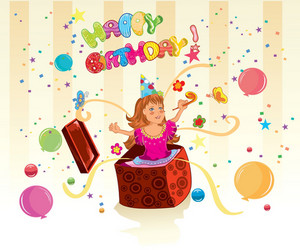 Kids Birthday Party Vector Illustration