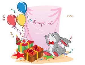 Kids Birthday Party With Rabbit Vector Illustration