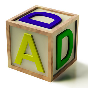 Kids Block Spelling Dad As Symbol For Fatherhood And Parenting