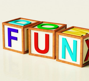Kids Blocks Spelling Fun As Symbol For Enjoyment And Playing