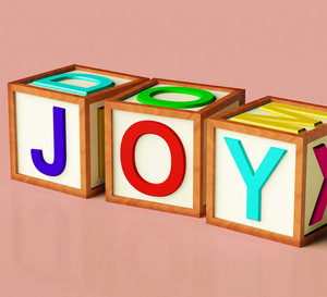 Kids Blocks Spelling Joy As Symbol For Fun And Playing
