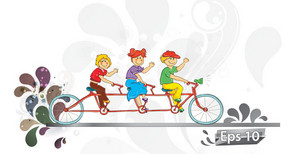 Kids On A Bike Vector Illustration
