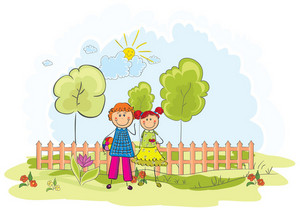 Kids Playing In The Park Vector Background